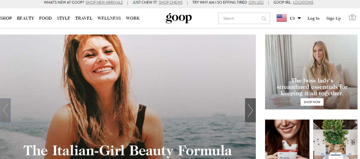 brand storytelling goop